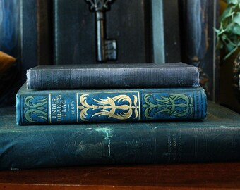 Decorative Vintage Blue Toned Books Classics Dickens Shakespeare Henty 1900's Set of 3