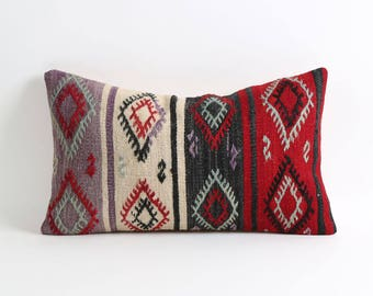 Kilim pillow, 12x20 tribal handmade decorative kilim pillow cover