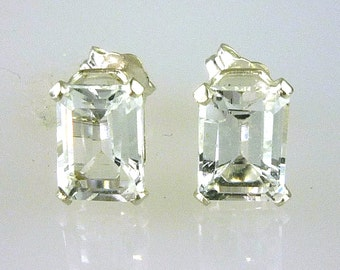 Natural White Topaz Emerald Cut Stud Earrings 925 Sterling Silver 2.42Carats TW