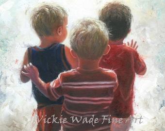 Three Little Boys Art Print, three boys, three brothers, boys room wall art, three boy cousins, triplet boys, boys waving, Vickie Wade Art