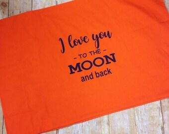 I love you to the moon and back pillowcase, bedding, pillow, sleepover pillowcase