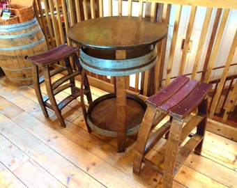 Wine Barrel Pub Table ~ Handcrafted From A Red Wine Barrel
