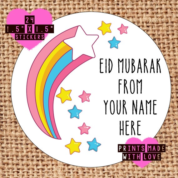 Eid mubarak personalised stickers happy eid labels gift