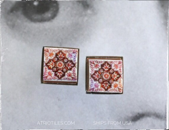 Stud Earrings RED Tile Post Portugal Antique Azulejo - Ovar DELFT  Hypo allergenic Stainless Steel - Gift Box Included - 1731