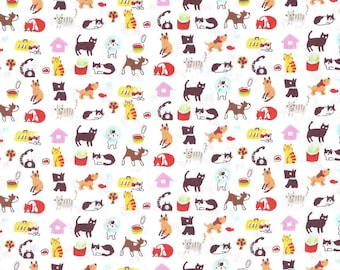 Japanese children Sevenberry fabric - Cotton - kittens and puppies Kawaii background cream - by 50cm (110 x)
