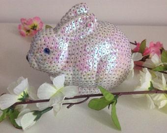 Handmade sequin easter rabbit