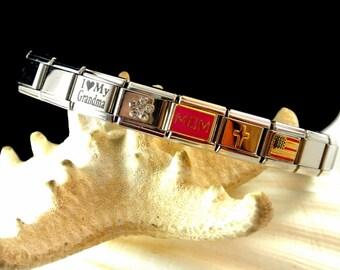Stainless Steel Chrome Stretch Bangle Bracelet with Love My Grandma Rhinestone Flower Mom Cross Flag Links Vintage 1970 Bangle
