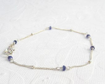 Delicate bracelet tanzanite 925 silver, bracelet, blue gemstones, sterling silver, satellite chain