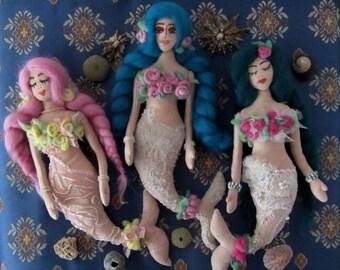 Pattern Textile Mermaid Doll Lucretia. Pattern Soft Textile Rag Fabric Stuffed Doll Mermaid