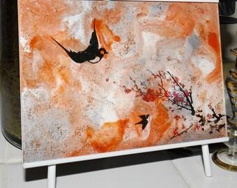Orange Cherry Blossoms Hand Painted Glass Art