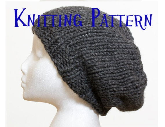 PDF Knitting Pattern - Slouchy Beanie, Last Minute Hat Knitting ...