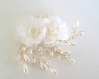 High Quality 3D Flower pearl Wedding bridal hair comb