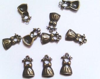 10pcs Antique Brass Cute Dress Charm size 10mm x 19 mm