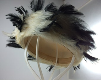 Pillbox Wool Hat Off-White with Black & White Feathers