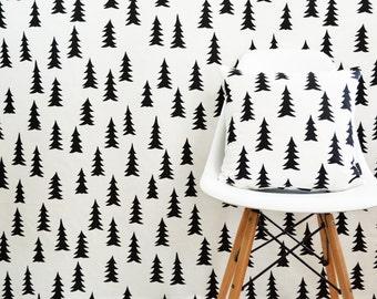 Scandinavian Swedish Monochrome fabric  - Available per meter - Gran