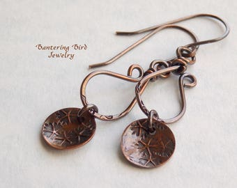 Delicate Copper Dangle Earrings with Flowers, Handmade Floral Charms, Circle Earrings, Unique Gift for 7th Anniversary, Copper Jewelry