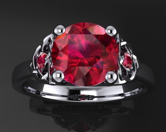 seana ring - 2 carat round Chatham ruby ring, celtic engagement ring