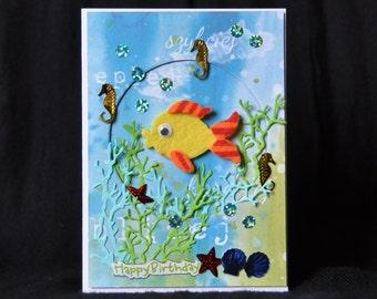 Fishes #6 Handmade Greeting Card birthday wishes animals lovers fish tank aquarium tropical fishes