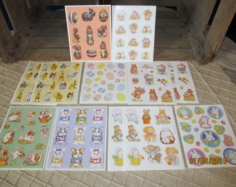 12 Vintage Sheets Hallmark Sticker Sheets-Easter - Bunny Chick Easter Eggs - Spring Flowers - Chocolate Rabbit