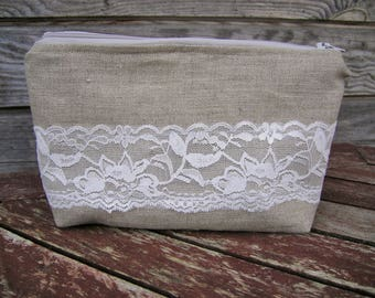 Natural Linen and Lace Make Up Bag, Zipper Pouch, Cosmetic Bag, Handmade, White Lace Women, Organize