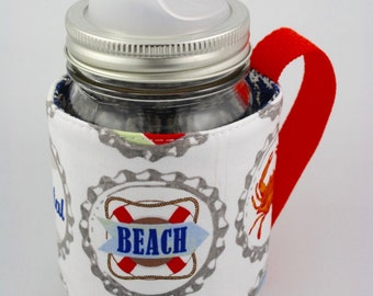 Mason jar sleeve, mason jar cozy, nautical, coffee, tea, smoothies, camping, cottage, beach, eco friendly, crab, Refluff, hand made, mug