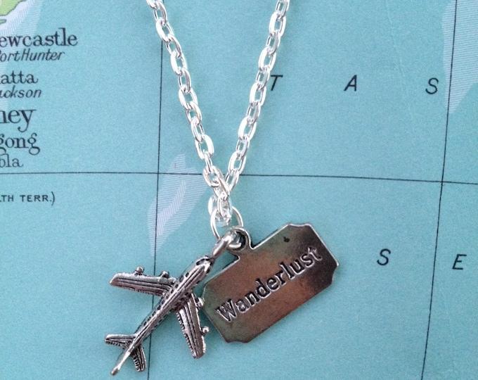 Silver Travel Wanderlust Plane Necklace.