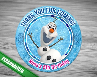 Frozen Favor Tag - PERSONALIZED - Olaf