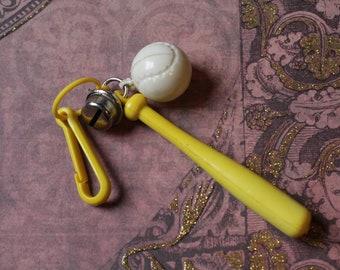 Vintage Bell charm Yellow Baseball bat & ball sports - Charm Bracelet - Necklace - Retro Keychain clip - Zipper Pull Kitsch Kawaii Mini 80s