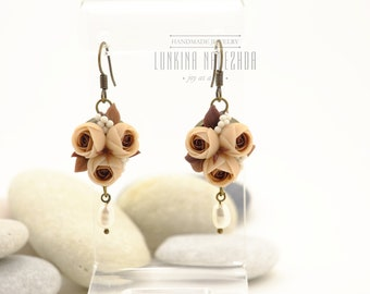 Brown beige polymer clay flower ranunculus everyday dangle earrings with natural pearls