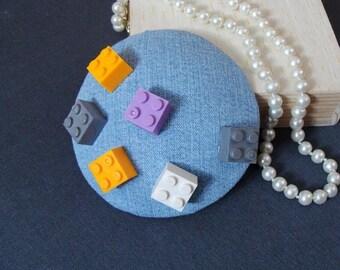 """Bibi"" hat / fascinator - scattered blocks"