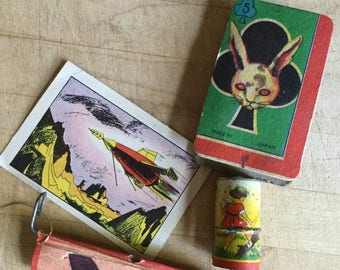 MidCentury Kids Toy Prize Collection Rabbit Rocket Whistle Paper Ephemera
