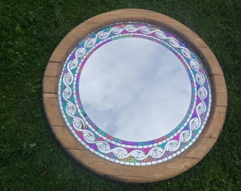 Recycled cable reel wood frame with stained glass and mirror mosaic