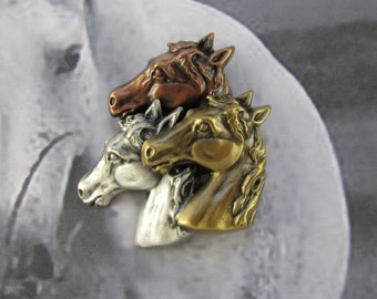 Horse Brooch- Horse Lovers Gift- Equestrian Jewelry- Equine- Horse Jewelry- mixed metal jewelry