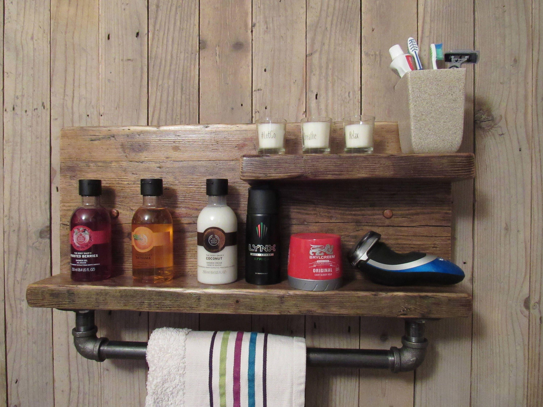 Étagère rustique étagère de salle de bain récupéré étagère