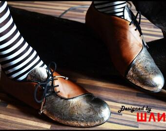 """Leather oxfords, Tie shoes, Lace ups """"OBLIQUE"""" - Model MIRROR"""