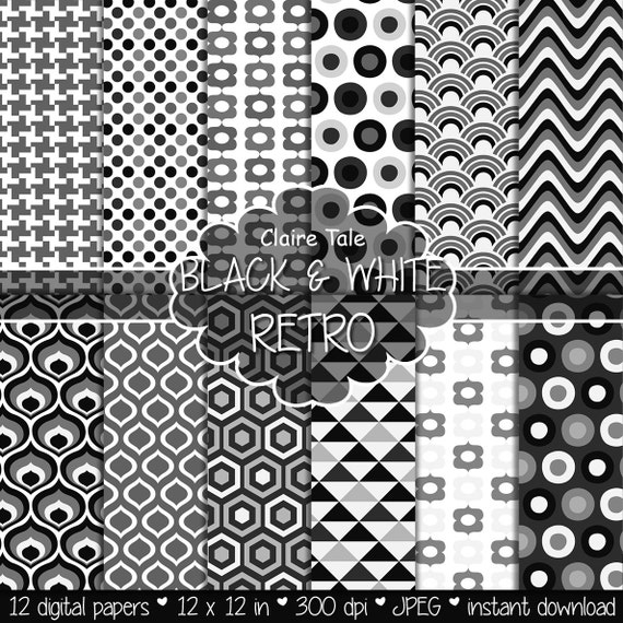 "Retro geometric digital paper: ""BLACK & WHITE RETRO"" with retro geometric patterns, triangles, honeycomb, circles, polka dots, houndstooth"