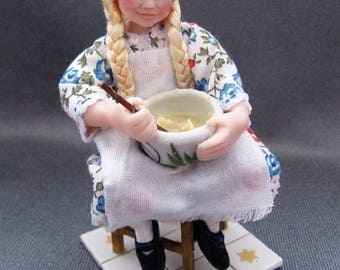 OOAK 1/12 miniature polymer clay character doll