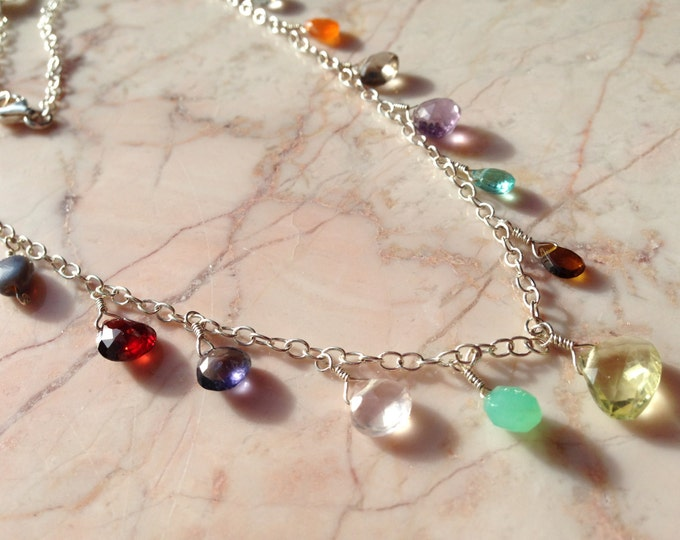Multi Gemstone and Sterling Silver Necklace Talisman Good Luck Gift Chakra Energy