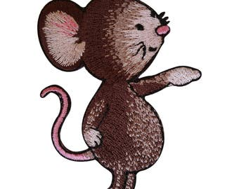 Embroidered Mouse Iron On Patch Sew On Badge Mice Embroidery Clothes Applique