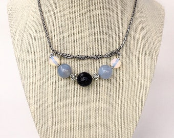 Silver Plated Necklace with Blue Goldstone (Crystalpedia), Blue Chalcedony Agate and White Opal stones
