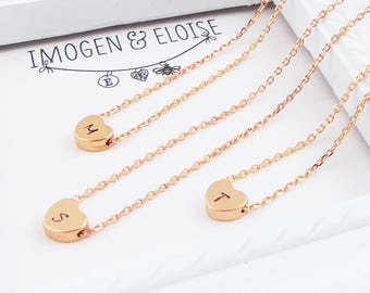 Rose Gold Heart Initial Necklace, Personalized Heart Choker, Hand Stamped Mini Heart, Rose Gold Personalised Heart Necklace, Pink Heart