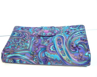 BiFold Long Wallet Cash Envelope Wallet for Dave Ramsey Budget System  Blue Purple Paisley