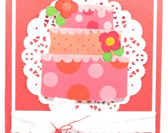 Birthday card, birthday card for her, birthday cake card, girls birthday card, feminine birthday card, personalized card