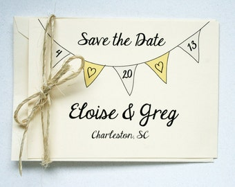 Wedding Save the Dates -- Elegant Banner Flats & Envelopes in Creamy Ivory -- Customizable Set -- CHOOSE YOUR QUANTITY