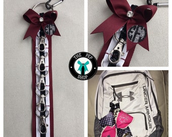 Cheer Bow Holder / Klinger™ Backpack Strap.  Maroon or Green or Gray / Black / White, 5 clasps, stocking stuffer Price is for 1. Sale!