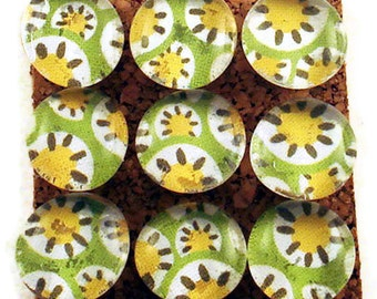Funky Push Pins  Decorative Thumb Tacks Cork Board Pins in Lemon Lime (P49)