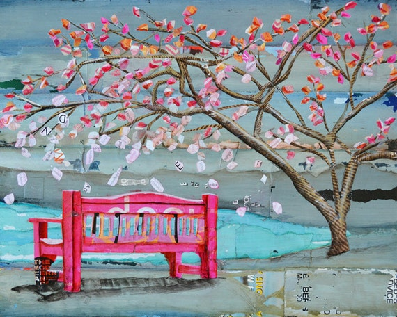 FINE ART PRINT bench park tree lake wall decor poster mixed media collage summer painting vintage wall art gift for her nature, All Sizes