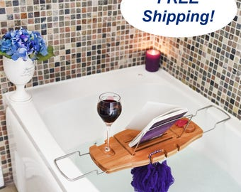 Luxury Bamboo Bathtub Caddy For The Ultimate At-Home Spa Experience!