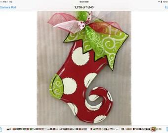 Stocking door hanger, Christmas door hanger, Stripe stocking,wooden door hanger,christmas wreath,small business saturday,elf stocking