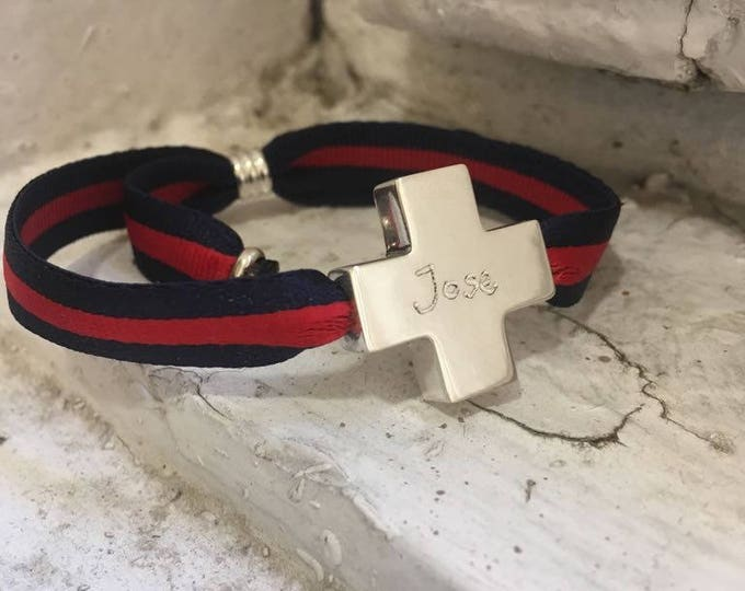 Pulsera Cruz Hombre/plata/cinta bicolor ajustable/HOPE.